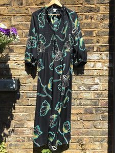 Sustainable Smock Front Gingko Print Dress