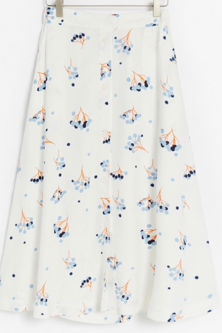 Sustainable White Floral Print Skirt