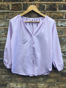 Fairly Made Cotton Linen Lilac Blouse
