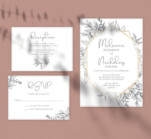 Hand Drawn Frame wedding invitation and set