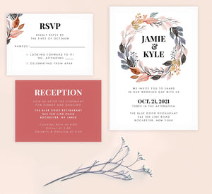Watercolor Wreath wedding invitation and set