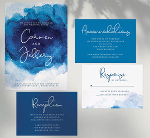 Dramatic Blue wedding invitation and set