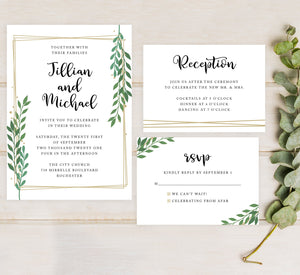 Gold Frame with Greenery Wedding Set