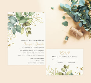 Greenery with Gold Wedding Set