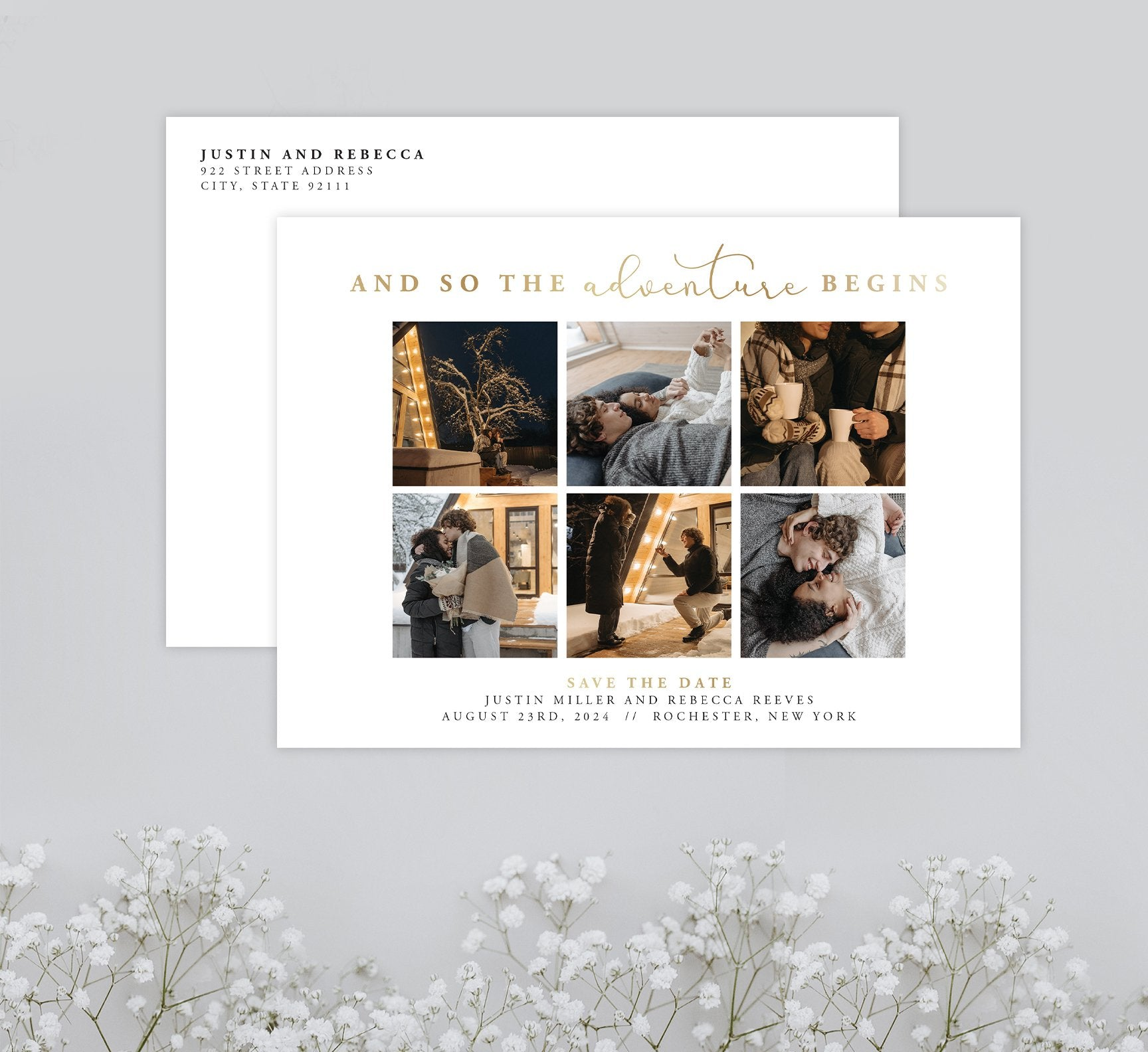 Adventure Begins Save the Date Card with 6 image spots