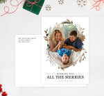 Load image into Gallery viewer, All the Merries Holiday Card Mockup; Holiday card with envelope and return address printed on it.