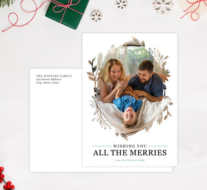 All the Merries Holiday Card Mockup; Holiday card with envelope and return address printed on it.