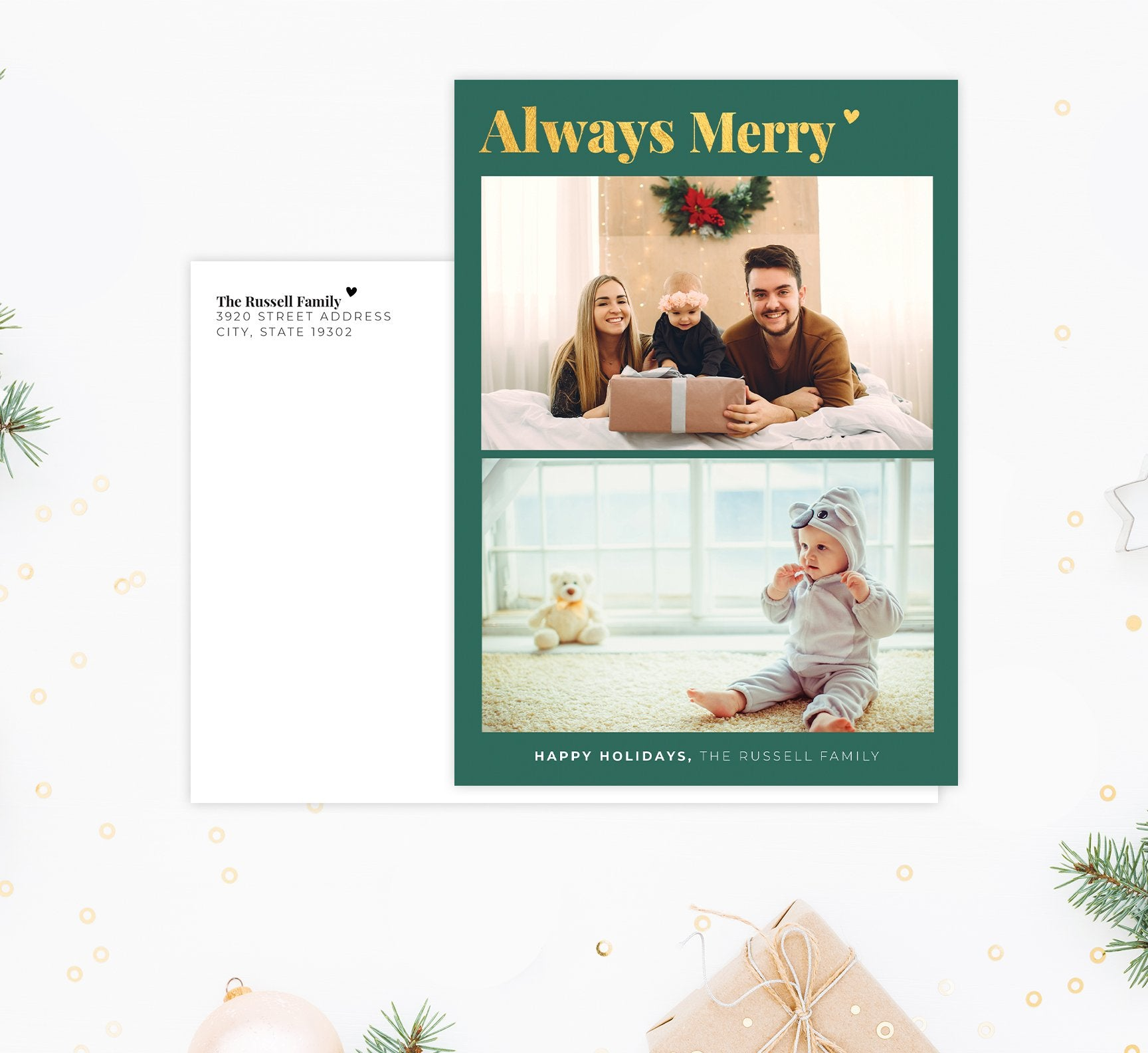 Always Merry Holiday Card Mockup; Holiday card with envelope and return address printed on it.