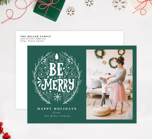 Be Merry Holiday Card Mockup; Holiday card with envelope and return address printed on it.