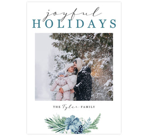 "Blue Botanical Holiday Card; White background with your uploaded photo in the middle. Winter, blue, watercolor floral swag at the bottom and ""Joyful Holidays"" at the top."