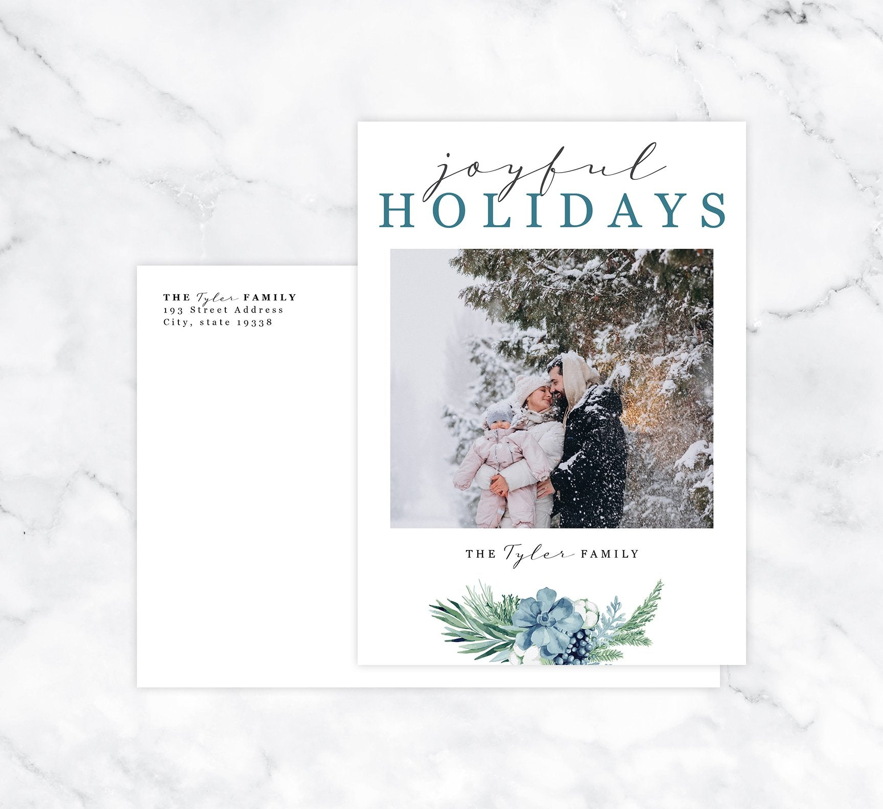 Blue Botanical Holiday Card Mockup; Holiday card with envelope and return address printed on it.