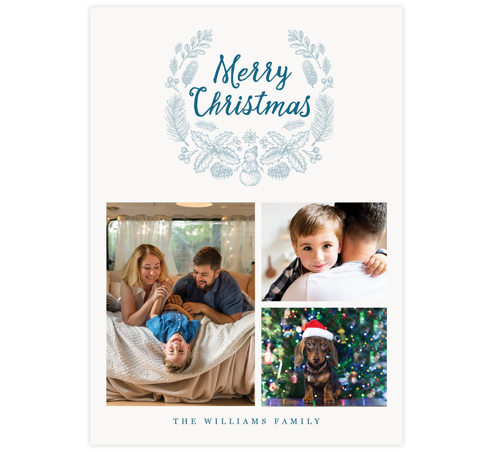 "Blue Wreath Holiday Card; Subtle blue background with hand drawn winter elements in a wreath around ""Merry Christmas"" at the top and 3 image spots below"