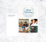 Load image into Gallery viewer, Blue Wreath Holiday Card Mockup; Holiday card with envelope and return address printed on it.