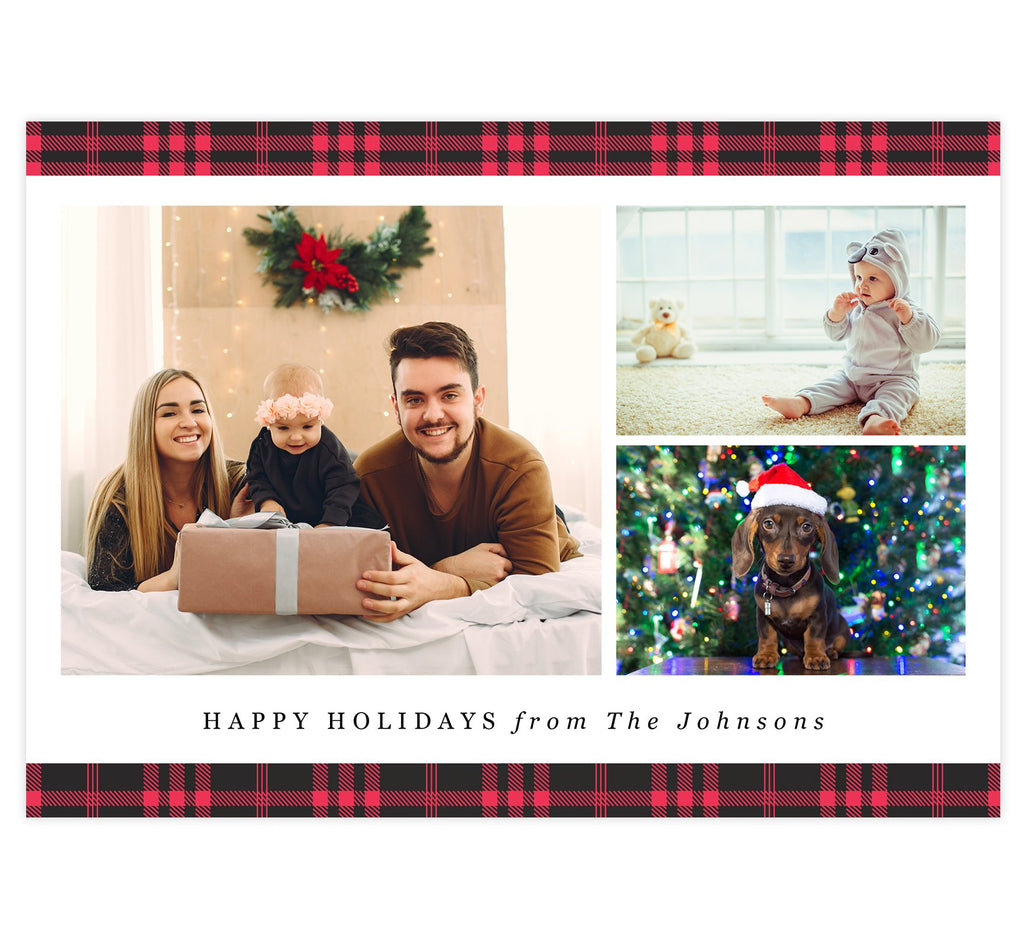Red Plaid Holiday Card; White background with spots for three photos, plaid design on the top and bottom edges and simple 'happy holidays' text at the bottom.