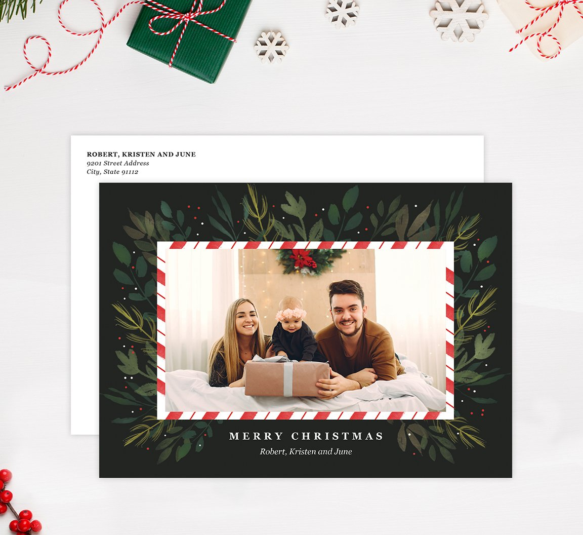 Candy Cane Frame Holiday Card Mockup; Holiday card with envelope and return address printed on it.