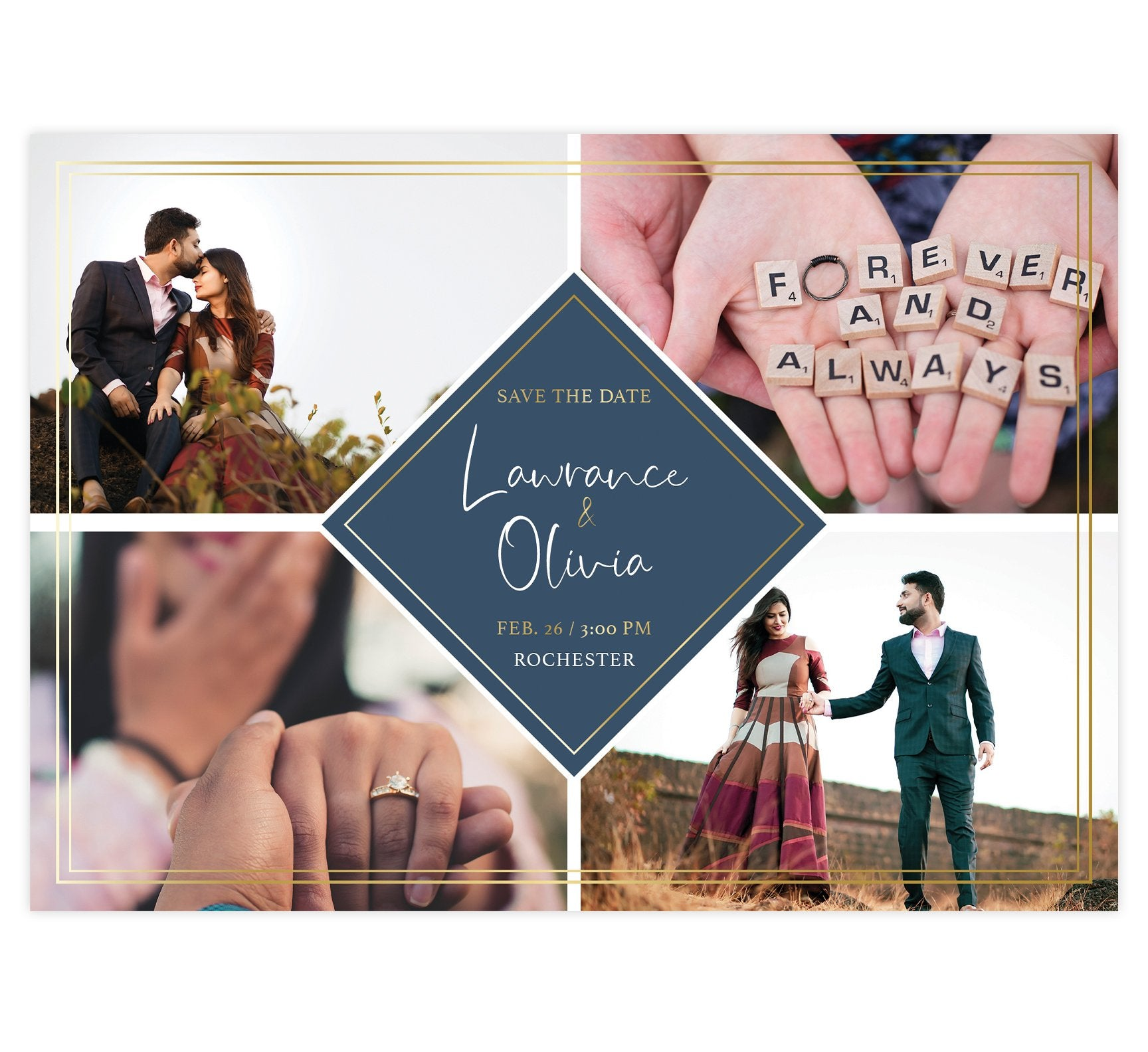 Charming Love Save the Date Card with 4 image spots