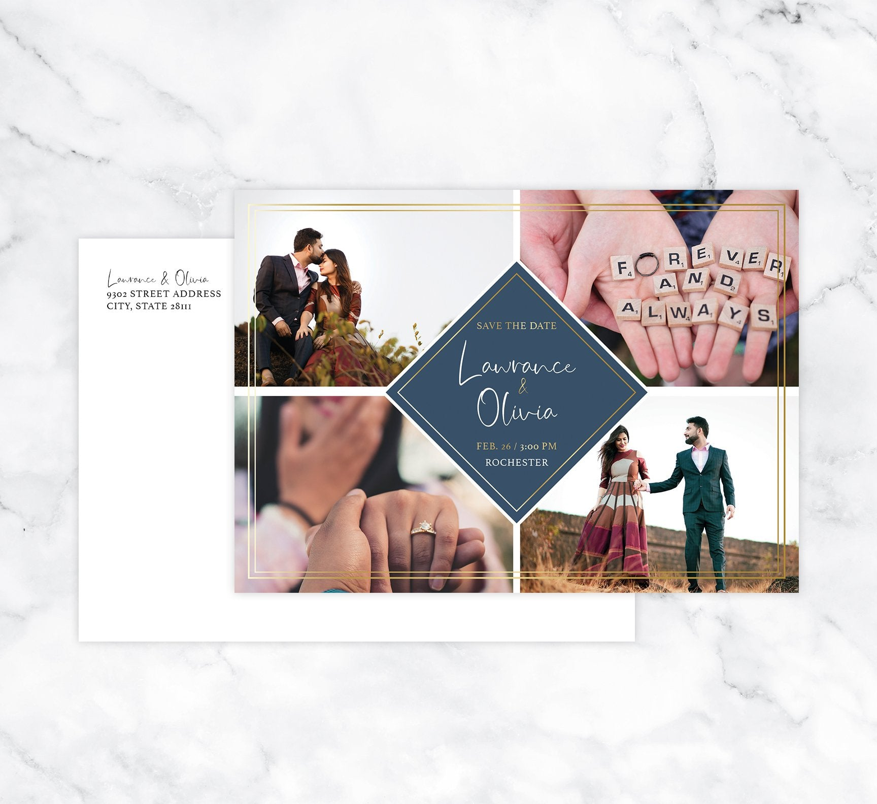 Charming Love Save the Date Card Mockup