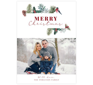 "Christmas Pine Holiday Card; Simple white background with watercolor pine elements around ""Merry Christmas"" and one image spot."