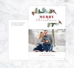 Load image into Gallery viewer, Christmas Pine Holiday Card Mockup; Holiday card with envelope and return address printed on it.