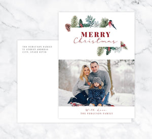 Christmas Pine Holiday Card Mockup; Holiday card with envelope and return address printed on it.