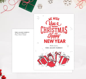 Christmas Presents Holiday Card Mockup; Holiday card with envelope and return address printed on it.
