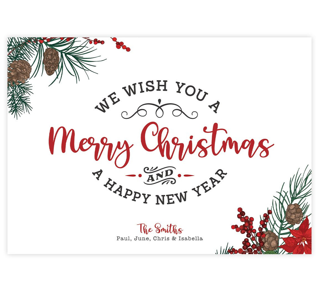 Christmas Typography Holiday Card; White background with gray and red text and greenery, pinecones and berry illustration in the corners