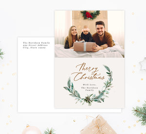 Christmas Wreath Holiday Card Mockup; Holiday card with envelope and return address printed on it.