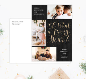 Crazy Year Holiday Card Mockup; Holiday card with envelope and return address printed on it.