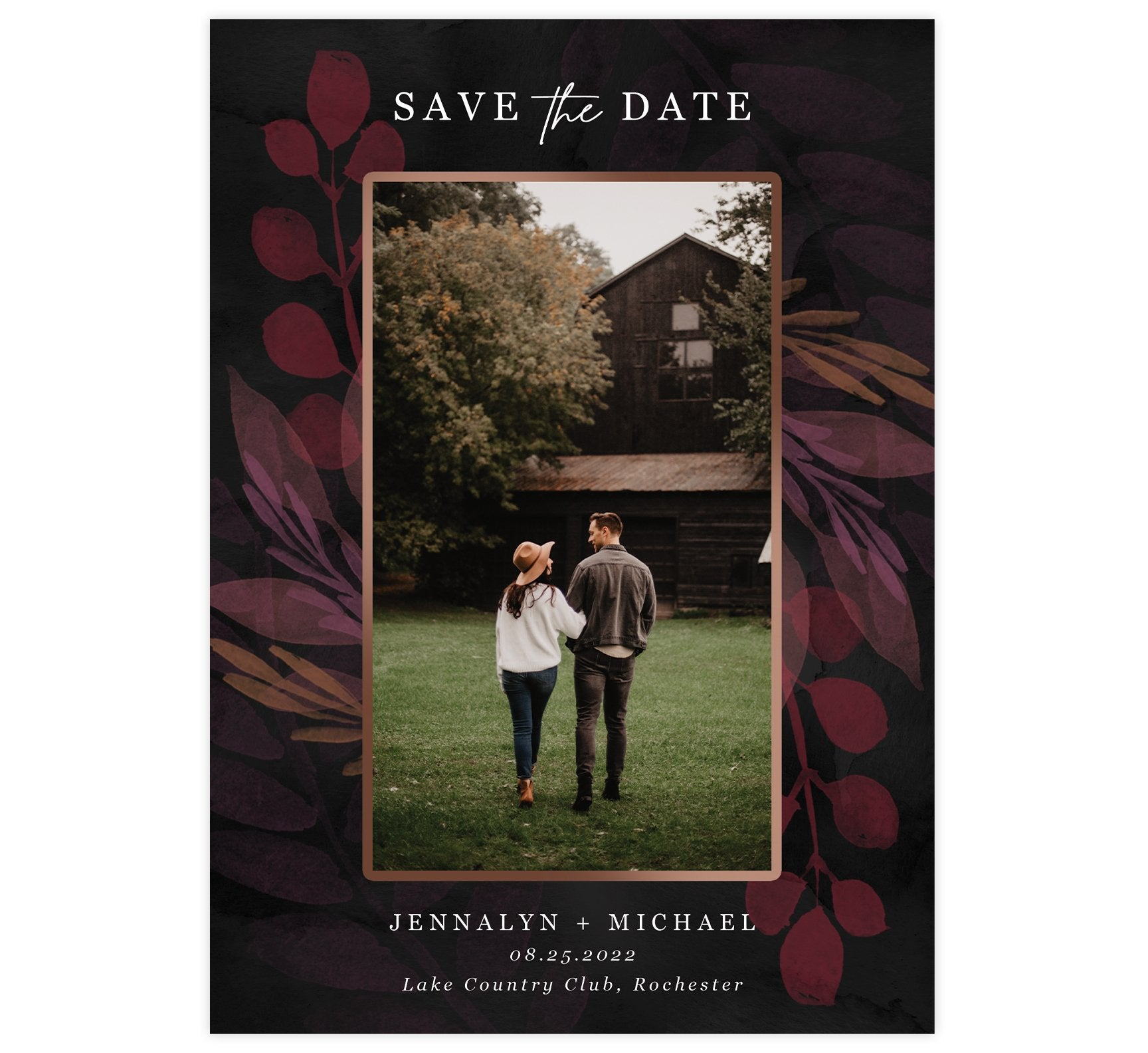 Deep Love Save the Date Card with 1 or 2 image spots