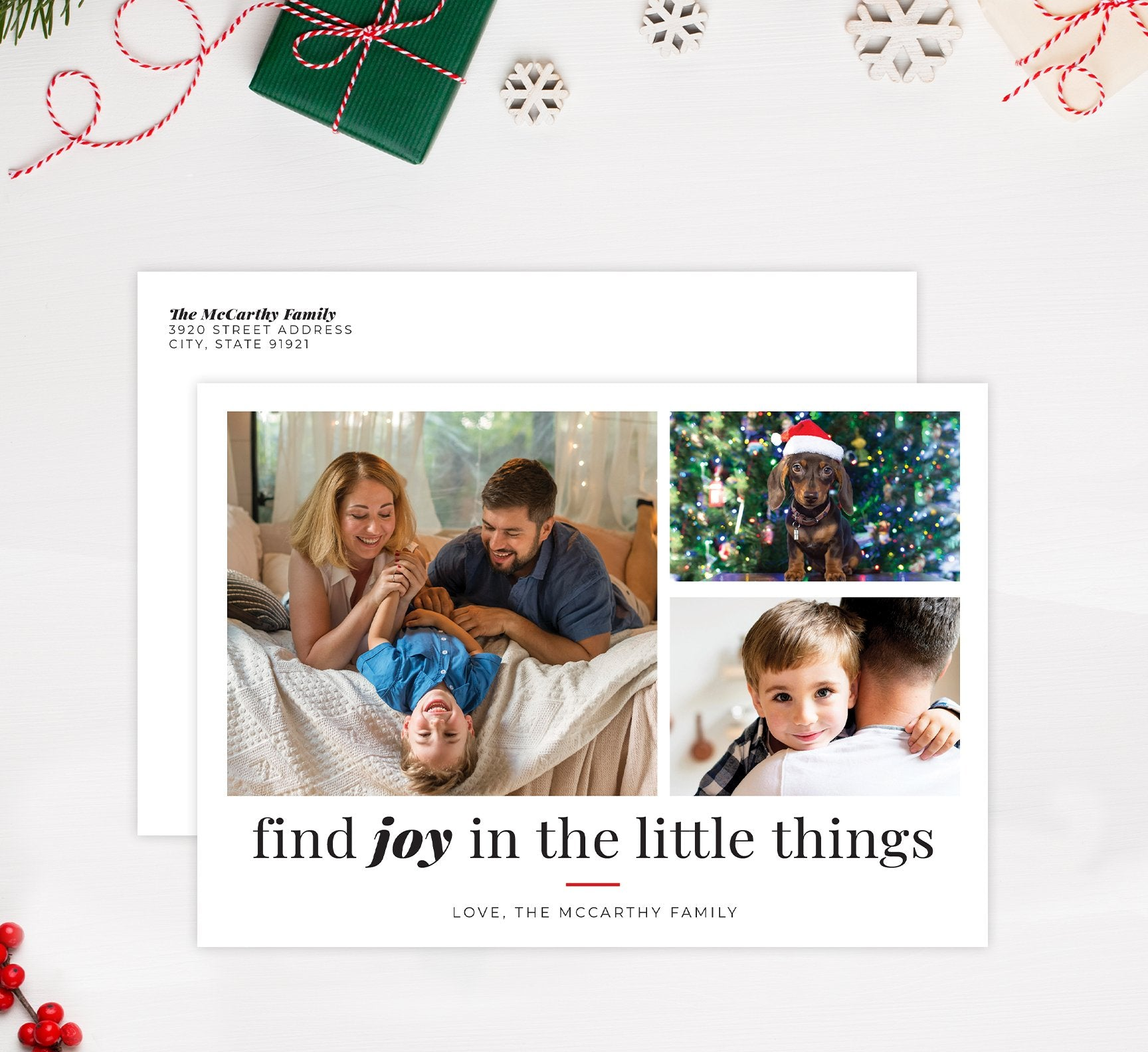 Find Joy Holiday Card Mockup; Holiday card with envelope and return address printed on it.