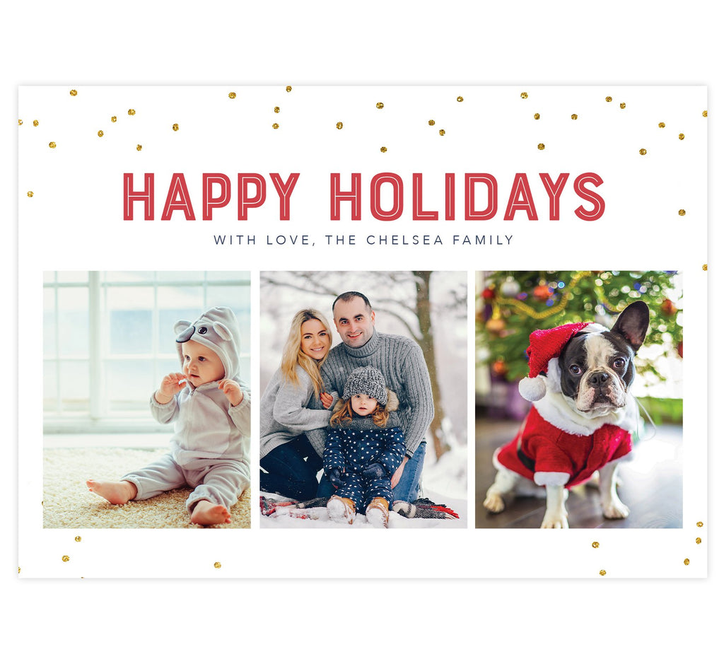 "Glitter Dots Holiday Card; White background with glitter dots around the edges, red ""Happy Holidays"" above 3 image spots."