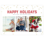 "Load image into Gallery viewer, Glitter Dots Holiday Card; White background with glitter dots around the edges, red ""Happy Holidays"" above 3 image spots."