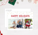 Load image into Gallery viewer, Glitter Dots Holiday Card Mockup; Holiday card with envelope and return address printed on it.