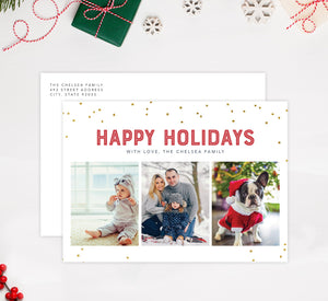 Glitter Dots Holiday Card Mockup; Holiday card with envelope and return address printed on it.