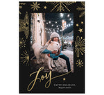 "Load image into Gallery viewer, Gold Joy Holiday Card; Dark black background with gold snowflakes and one image spot in the middle. Large, gold ""Joy"" is at the bottom overlapping the bottom of the image."