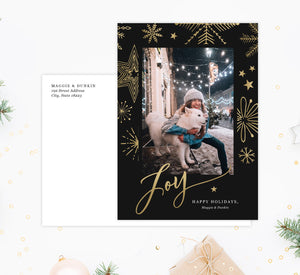 Gold Joy Holiday Card Mockup; Holiday card with envelope and return address printed on it.