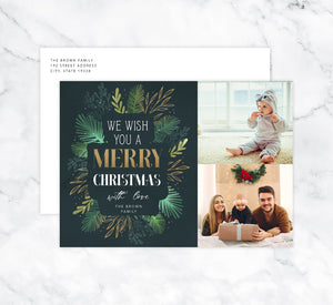 Gold and Greenery Holiday Card Mockup; Holiday card with envelope and return address printed on it.