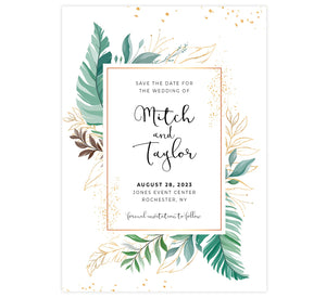 Greenery Frame Save the Date Card