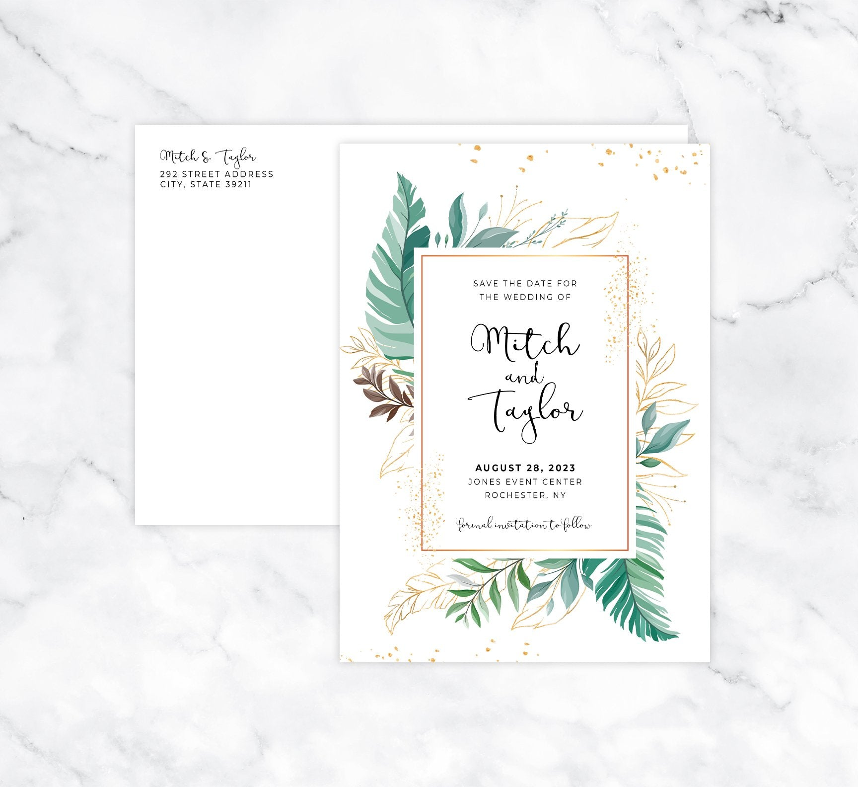 Greenery Frame Save the Date Card Mockup