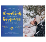 "Load image into Gallery viewer, Hanukkah Happiness Holiday Card; Subtle blue watercolor background with large image spot on right side. Text on the left side in white and yellow ""May the lights of hanukkah bring you happiness today and always."""