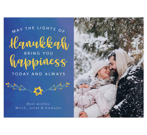 "Hanukkah Happiness Holiday Card; Subtle blue watercolor background with large image spot on right side. Text on the left side in white and yellow ""May the lights of hanukkah bring you happiness today and always."""