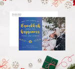 Load image into Gallery viewer, Hanukkah Happiness Holiday Card Mockup; Holiday card with envelope and return address printed on it.