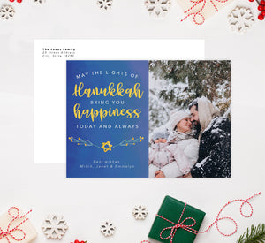 Hanukkah Happiness Holiday Card Mockup; Holiday card with envelope and return address printed on it.