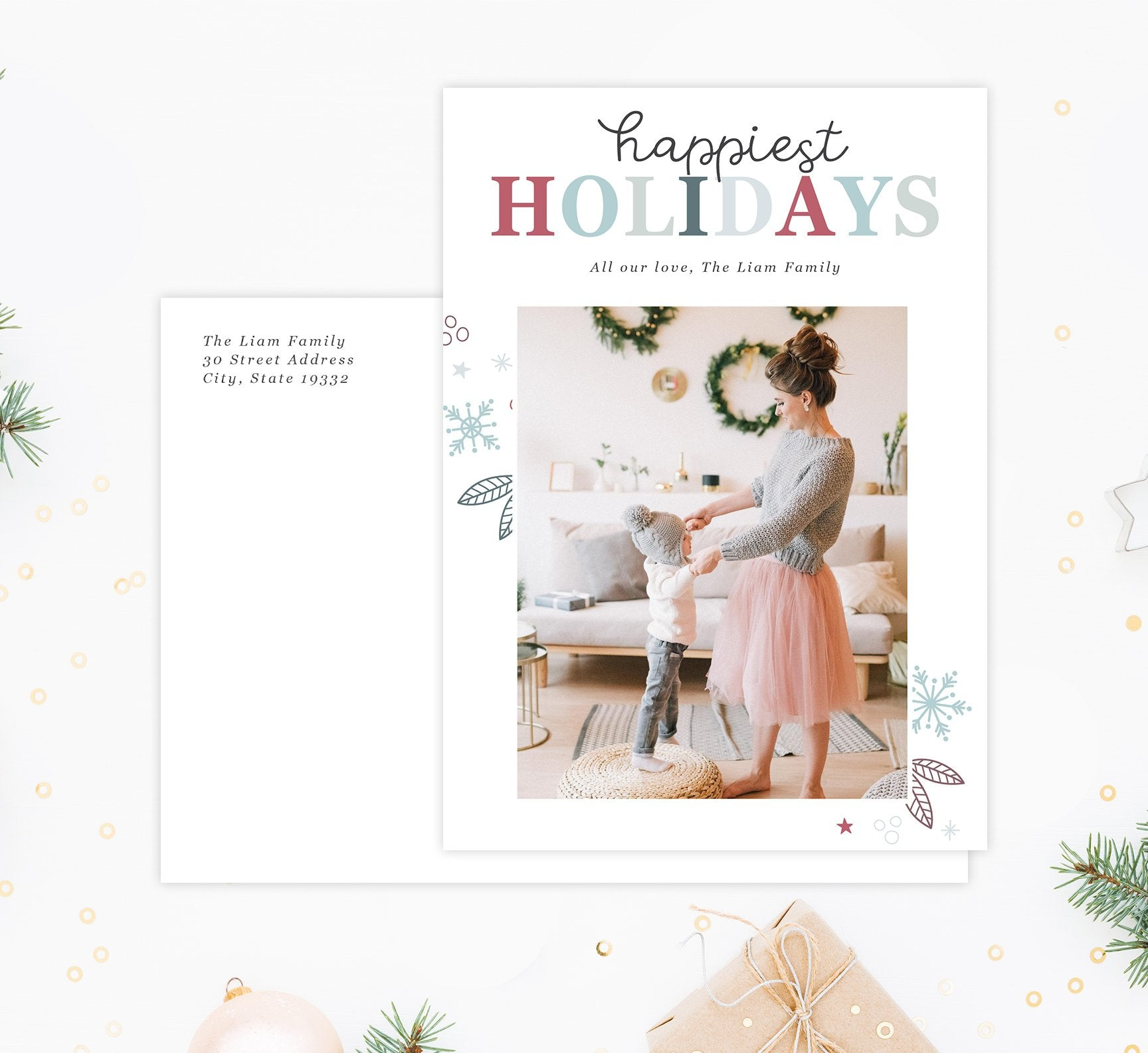 Happiest Holidays Holiday Card Mockup; Holiday card with envelope and return address printed on it.