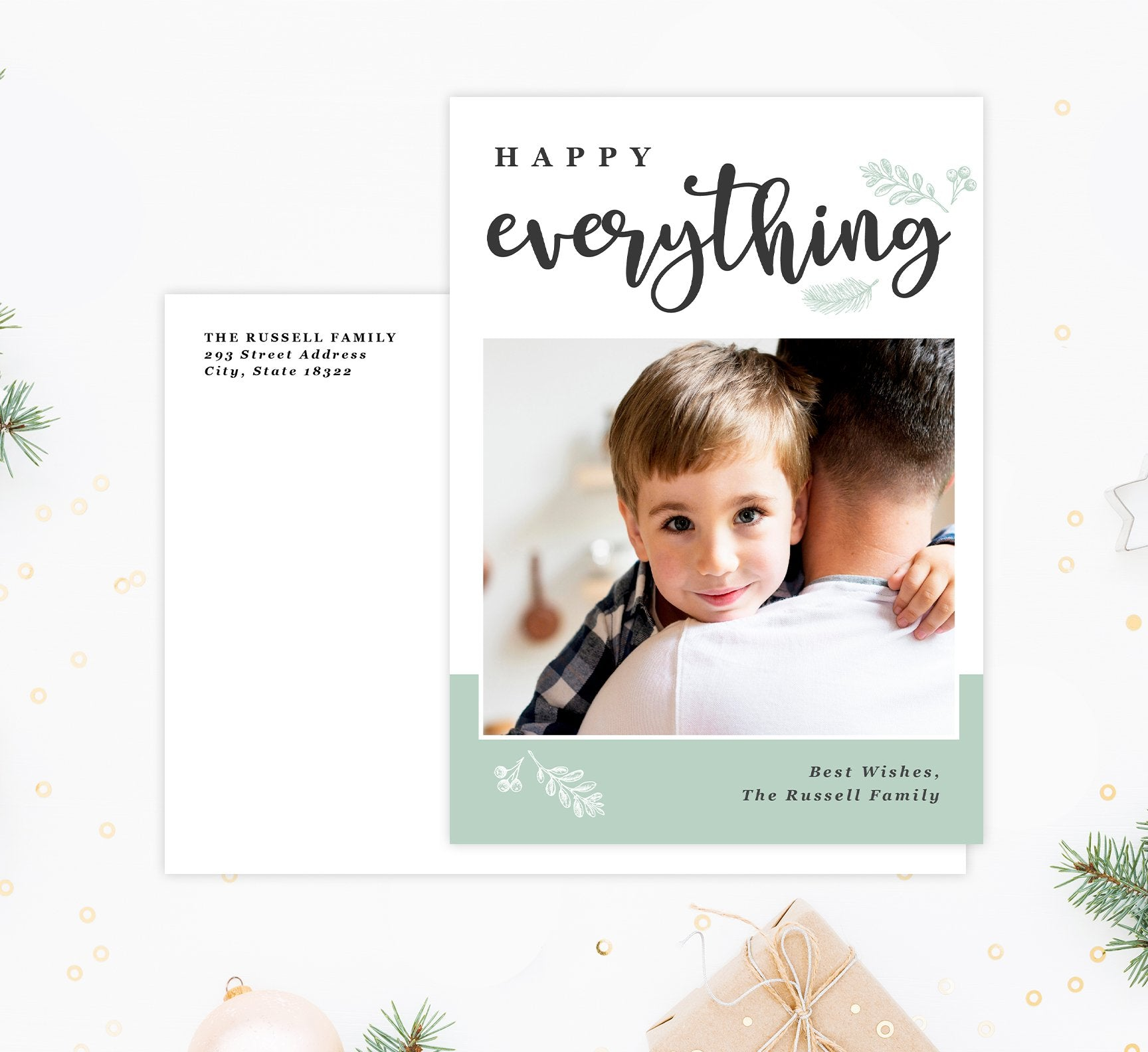 Happy Everything Holiday Card Mockup; Holiday card with envelope and return address printed on it.