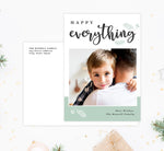Load image into Gallery viewer, Happy Everything Holiday Card Mockup; Holiday card with envelope and return address printed on it.