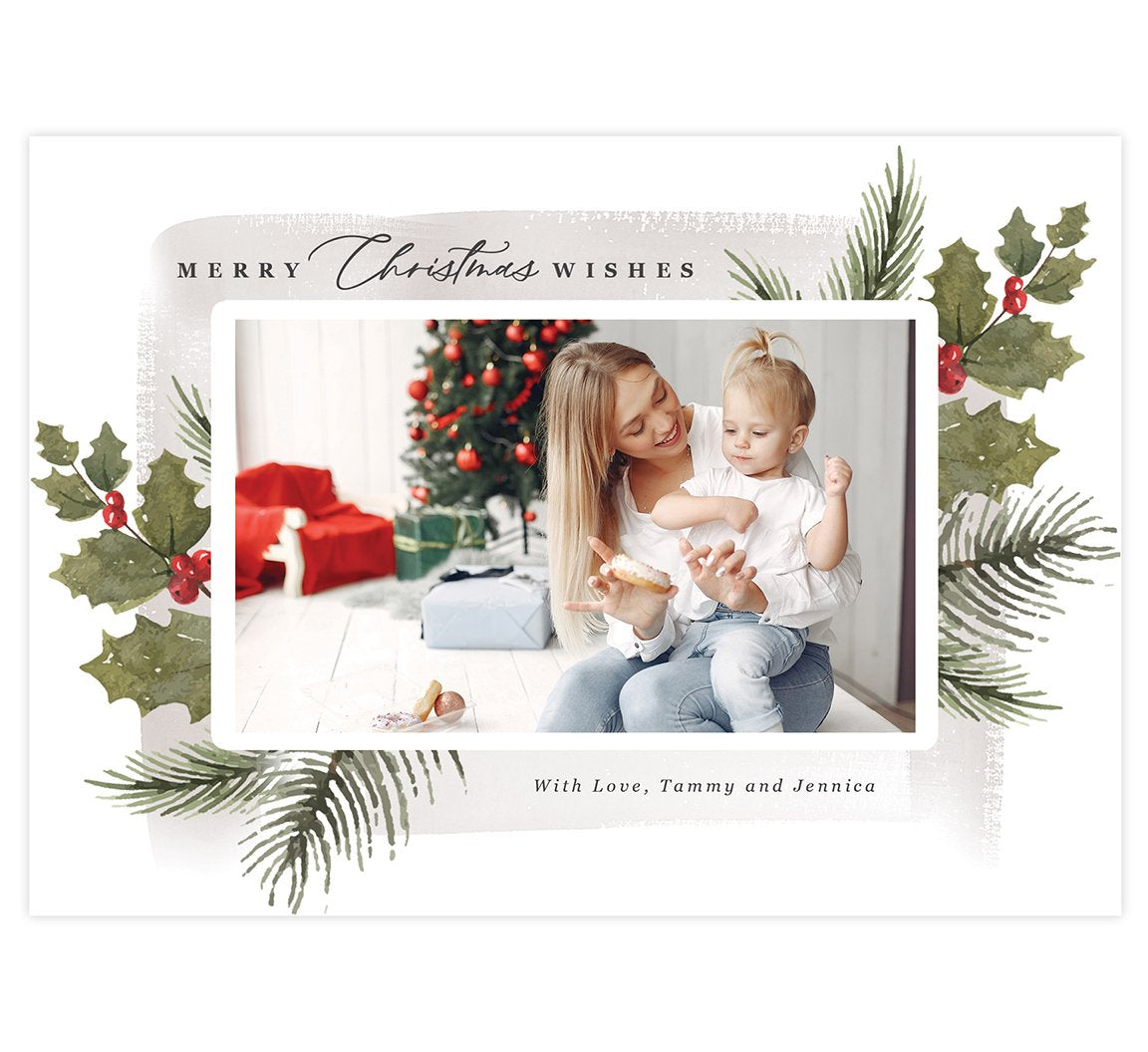 Holly Berry Holiday Card; 1 large image spots with watercolor background