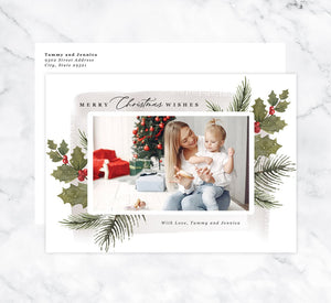 Holly Berry Holiday Card Mockup; Holiday card with envelope and return address printed on it.