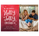 Load image into Gallery viewer, Holly Jolly Holiday Card; Red background with pink designs, hand written font to send Christmas wishes, and one large spot for your image.