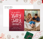 Load image into Gallery viewer, Holly Jolly Holiday Card Mockup; Holiday card with envelope and return address printed on it.
